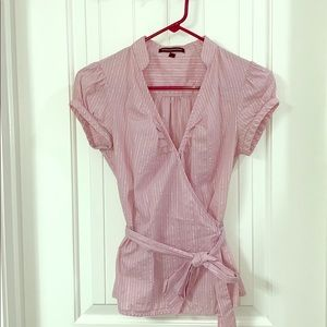 light pink striped top that ties